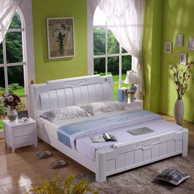 Solid wood bed, 1.8 meters single bed, wooden double bed, oak bed, master bedroom, 1.5m bed, storage, wedding bed, economy type