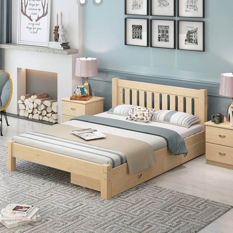 Rental room, simple bed, solid wood bed, pine bed, 1.51.8 meter double bed, modern simple bed for children, single bed