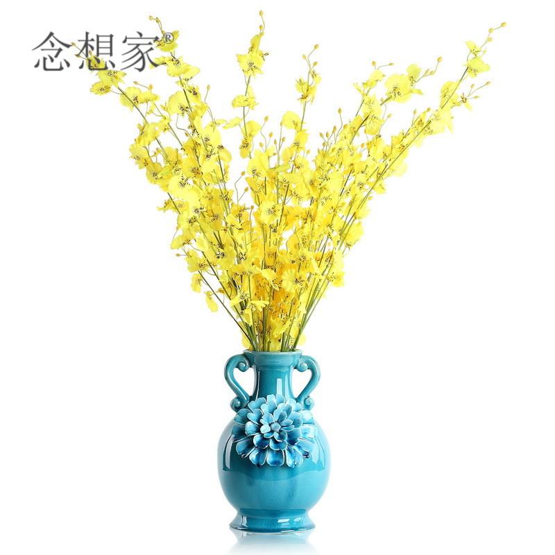 跳舞蘭一支歐式客廳臥室書房高仿真花絹花假花 黃色跳舞蘭 家居裝飾花飾品