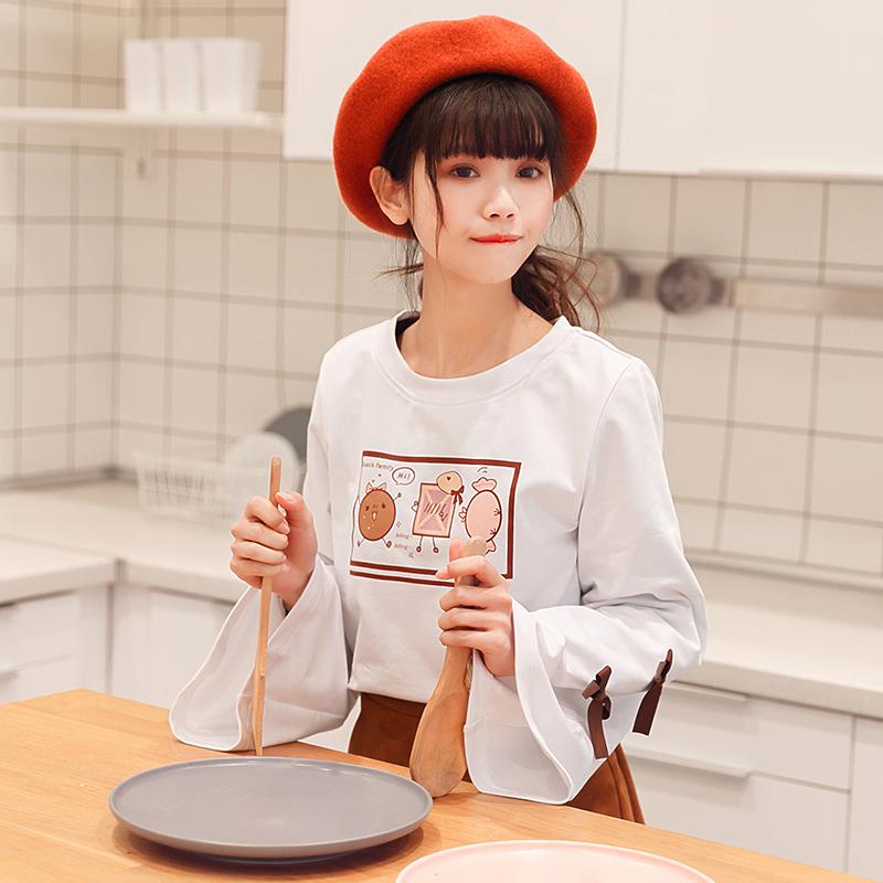 Áo phông/Áo T-shirt nữ dài tay phong cách Nhật Bản phong cách học sinh kiểu dáng dễ thương mẫu mới nhất phù hợp cho mùa xuân