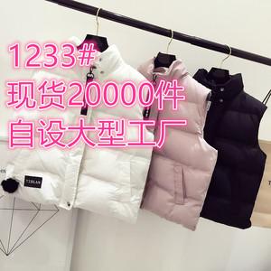 1233#女裝學生短款棉衣馬甲韓版女士百搭立領無袖外套小棉襖