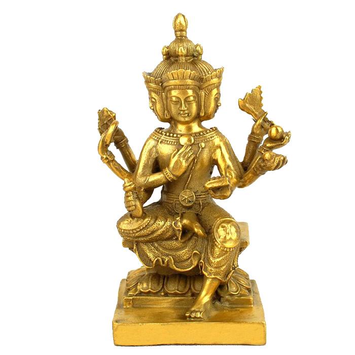 大號+送五帝錢開光純銅四面佛像泰國四面佛擺件大梵天王銅像四面佛風水擺件家居