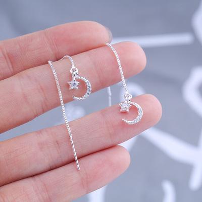 s925纯银闪钻不对称星星月亮耳线女韩国简约气质长款流苏耳坠礼物