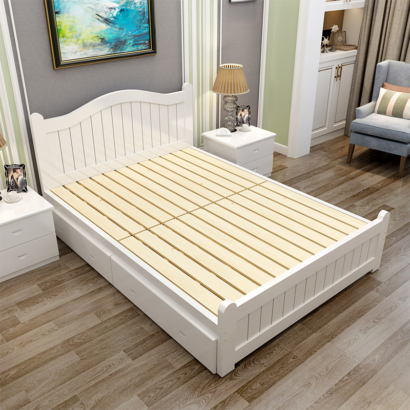Bed master bedroom, modern minimalist adult solid wood double bed, 1.8 meter bedroom, adult marriage bed, oak storage, high box bed