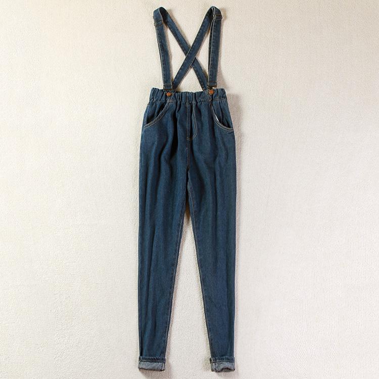 外贸尾单秋季显瘦韩版松紧高腰新款背带牛仔裤女小脚吊带长裤