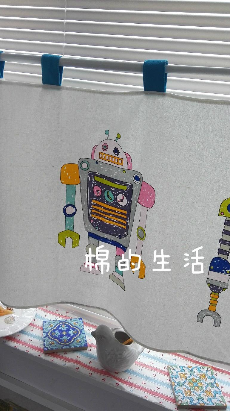 e drăguţ şi noi copii robot. jumatate din material de cortina de la cortina.