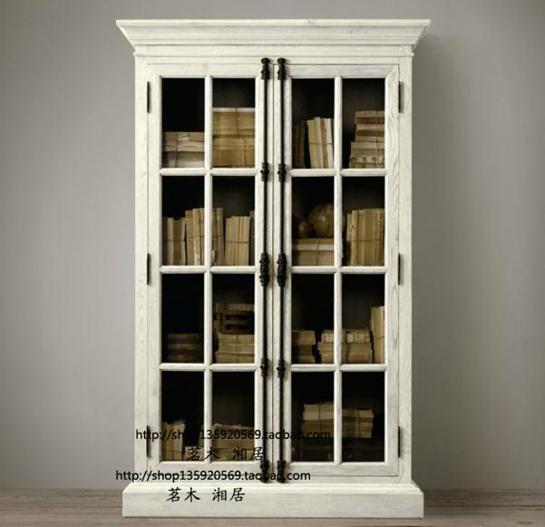 европейски ретро дървени библиотека френски антични стария дъб и заключи вратата на кабинета на две стъклени шкафчета бюфети