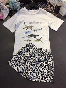 欧洲站设计感实拍海陆恐龙印花t恤豹纹斑点宽松短裤休闲两件套
