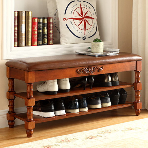 American shoe cabinet type shoe cabinet, European style solid wood entry storage creative shoes stool