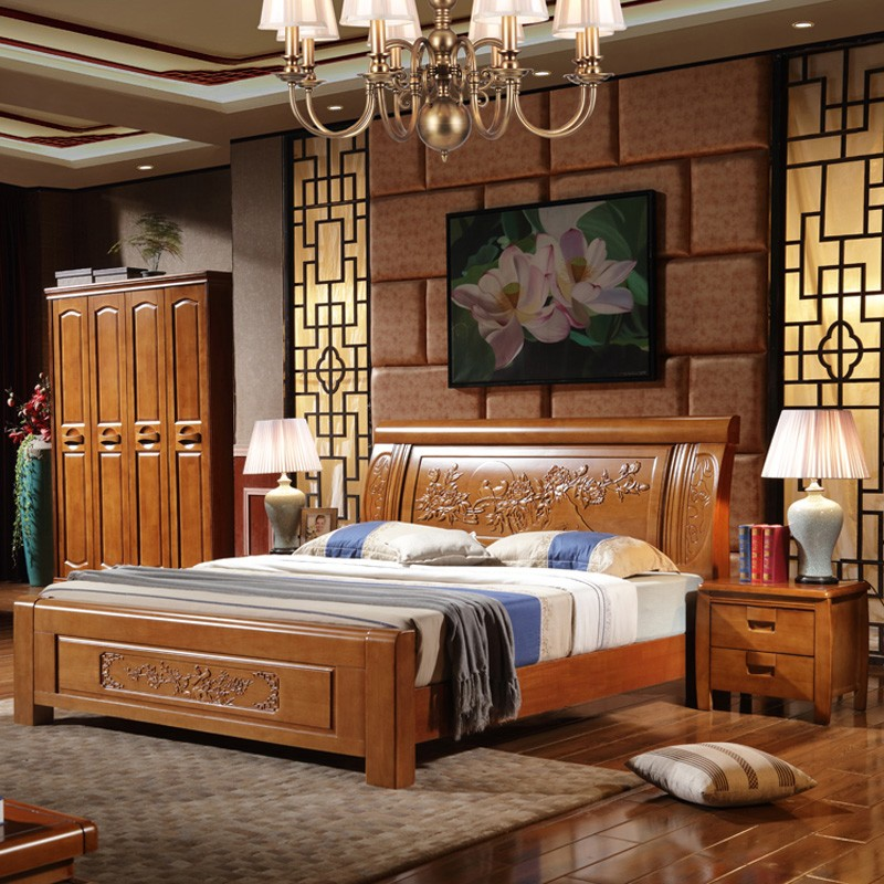All solid wood high box, oak 1.8 meters double bed, simple modern new Chinese style guest bedroom master bedroom furniture