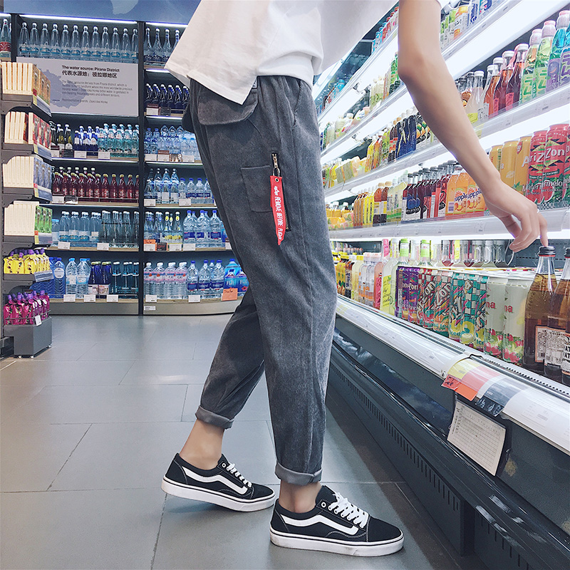 冬季裤子男士休闲裤九分裤男哈伦裤宽松运动裤韩版潮流长裤小脚裤