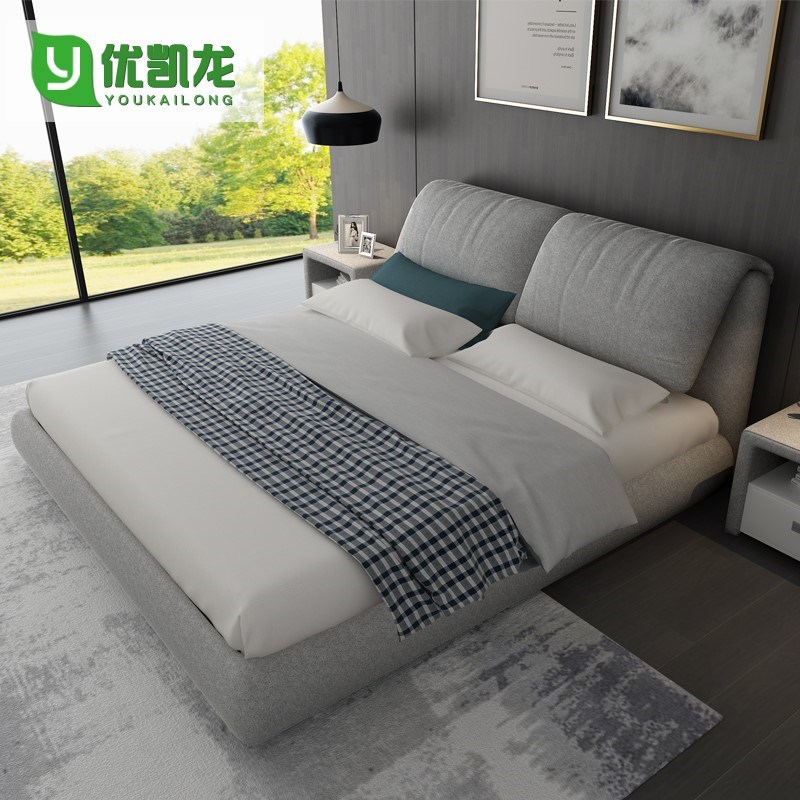 The new fabric bed 1.8 meters double bed soft bed Nordic washable wedding bed modern minimalist new cloth bed