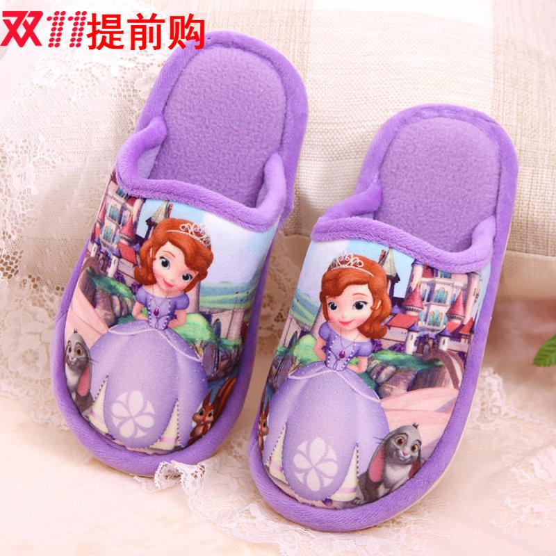 秋冬新品苏菲亚公主保暖室内居家女童儿童防滑软底拖鞋亲子棉拖