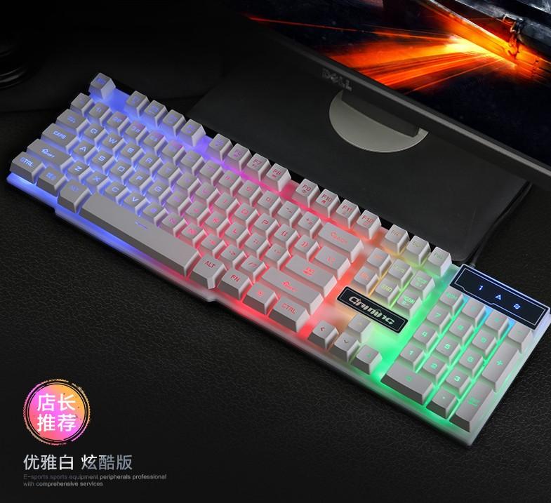 حقا يشعر الماوس لوحة المفاتيح الميكانيكية السلكية سماعة ثلاثة قطعة مجموعة المعادن لعبة الانارة الخلفية