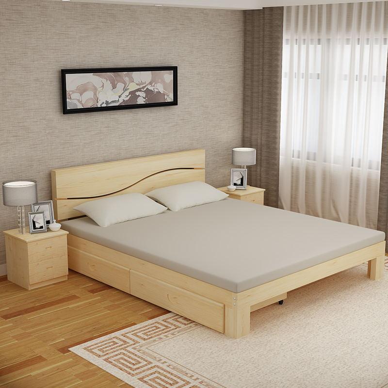 Los niños solo la cama doble de madera económica simple simple mosaico adultos cama cama paquetes de correo nuevo