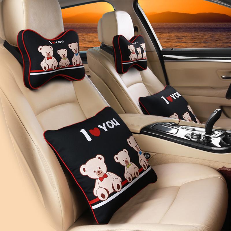 1対の創意麻綿自動車護頚枕車用の記憶綿四季可愛い漫画で枕腰用品