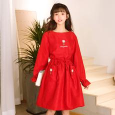 Váy liền/Váy chữ A nữ dáng dài thắt eo mốt mới mùa xuân phong cách Nhật Bản