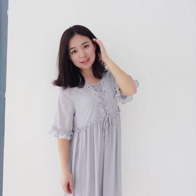 婴儿蓝飘逸甜美雪纺绑带连衣裙 娃娃裙a 含内衬百搭七分袖宽松