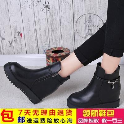 2016女鞋短靴时尚舒适百搭内增高女士皮靴秋冬新款靴子女英伦风潮