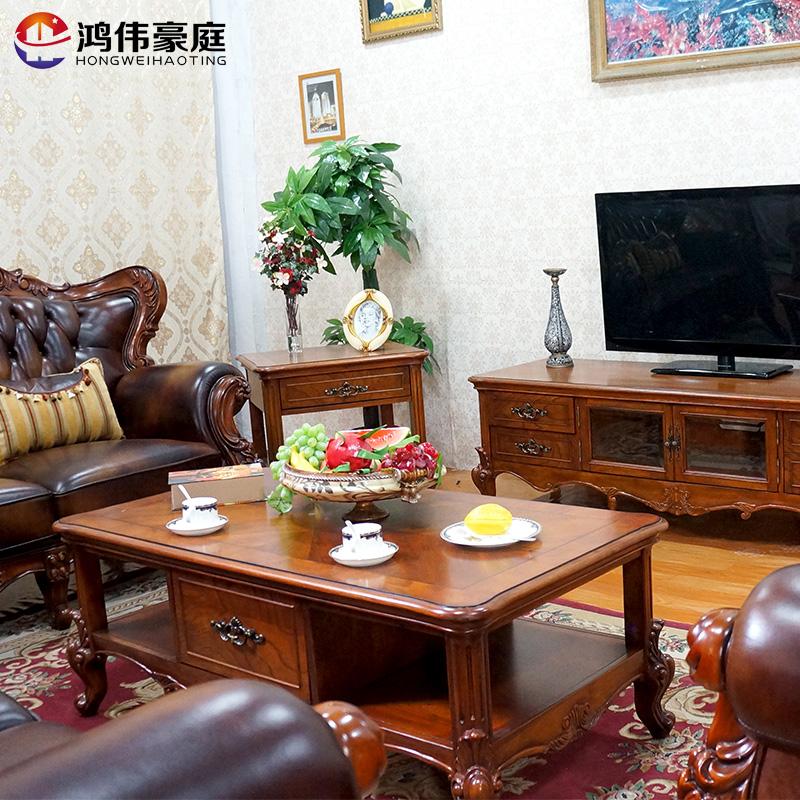 Hong Wei Villa de madera maciza mesa sofá combinación de muebles de Sala de lujo europeo con dos cajones de almacenamiento la Mesa de té