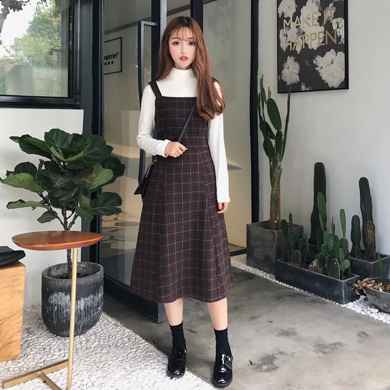 韓版學院風秋鼕新款潮學生撞色格子甜美高腰顯瘦背帶毛呢連衣裙女