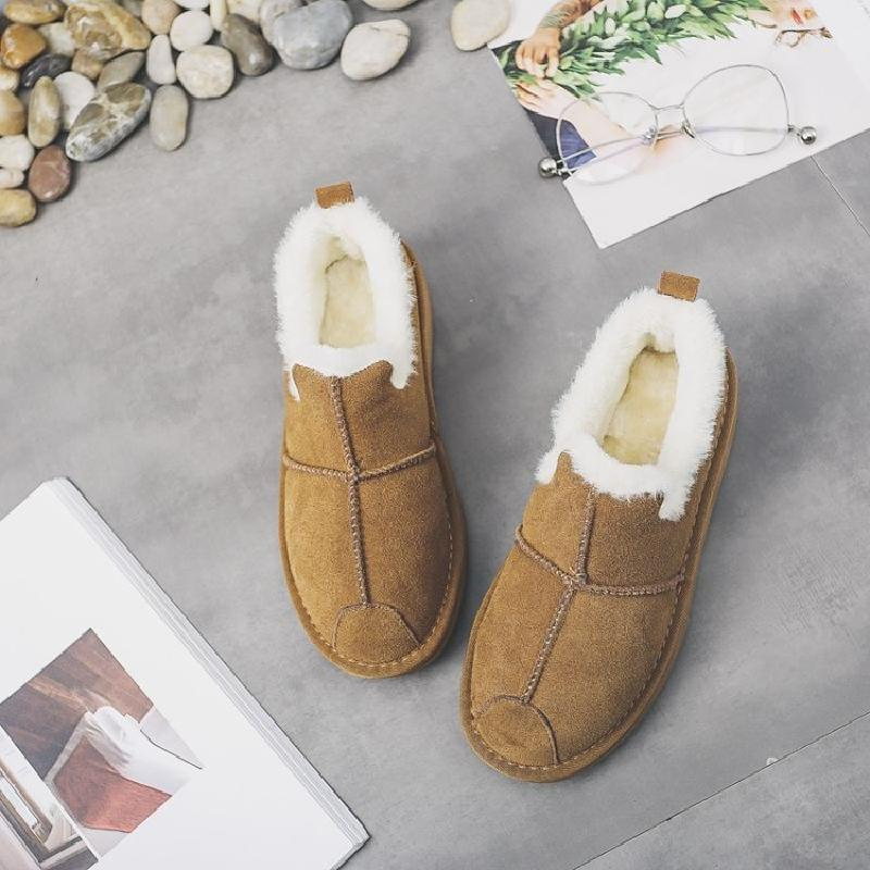Zapatos de cuero con guisantes de calor en invierno y las botas de nieve de algodón con zapatos gucci a las mujeres embarazadas a conducir los zapatos
