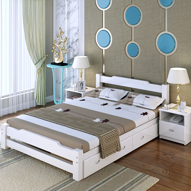 Enclosed solid wood bed, splicing bed, lengthened bed, single bed, adult double widened bed, barrier bed, children's bed
