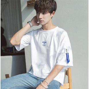 七分袖T恤男韩版潮流学生宽松五分中袖上衣服男装短袖男t恤蝙蝠袖