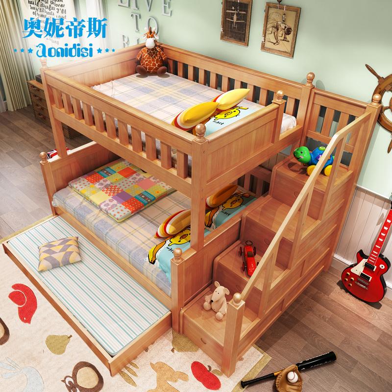 児童を売る露店母のベッドの上で離床グループ全木造2段ベッド成人二段ベッドに下に梯キャビネット
