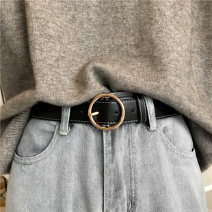 韩国复古圆扣皮带女宽简约百搭韩版休闲针扣腰带学生装饰牛仔裤带