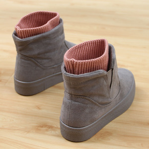 冬季加绒人本雪地靴棉鞋女韩版短筒加厚保暖厚底短靴学生棉靴女鞋
