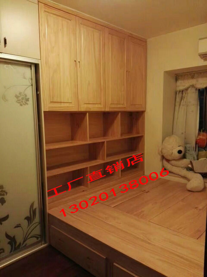Shanghai environmental protection factory direct solid wood furniture can be customized New Zealand pine wood storage tatami bed