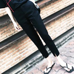 时尚个性孕妇裤春夏薄款外穿显瘦哈伦裤九分休闲宽松托腹裤春秋潮