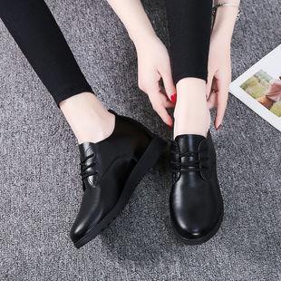 黑色系带平底圆头休闲皮鞋工作单鞋
