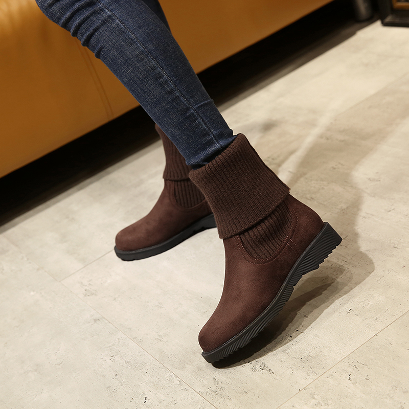 冬天鞋子女平底短靴秋冬韩版百搭毛线女靴平跟圆头加绒雪地靴中筒