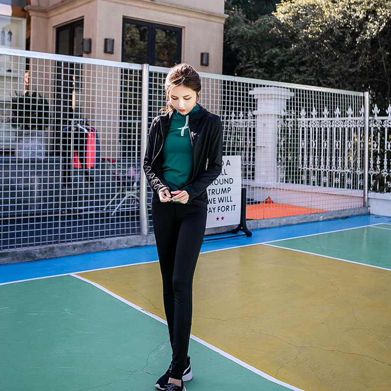 осенью и зимой йога одежда три образца набор специалистов работает фитнес - Корея slim скорость движения одежду с длинными рукавами - сухой одежды пальто