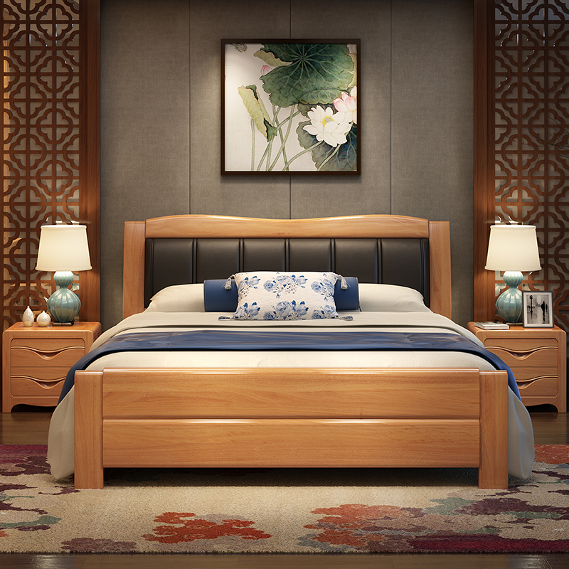 Modern solid wood bed, oak bed, master bedroom, 1.81.5 meters double bedroom, new Chinese wedding bed, storage high box bed