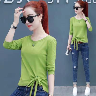 牛油果绿长袖T恤女2019秋季新款韩版系带上衣修身显瘦时尚打底衫