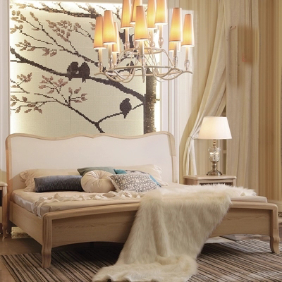 Jane L004 counters furniture bed 1.8 meters 1.5 meters of ivory white European style wood double
