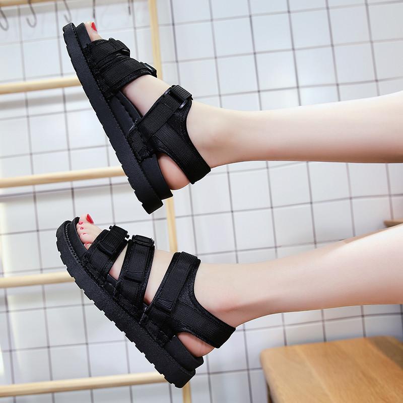 2017夏季新款韩版平底沙滩女鞋厚底罗马凉鞋魔术贴百搭松糕鞋学生