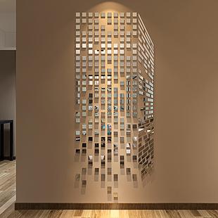 马赛克亚克力3d立体墙贴画镜面玄关客厅电视背景墙贴纸墙壁上装饰