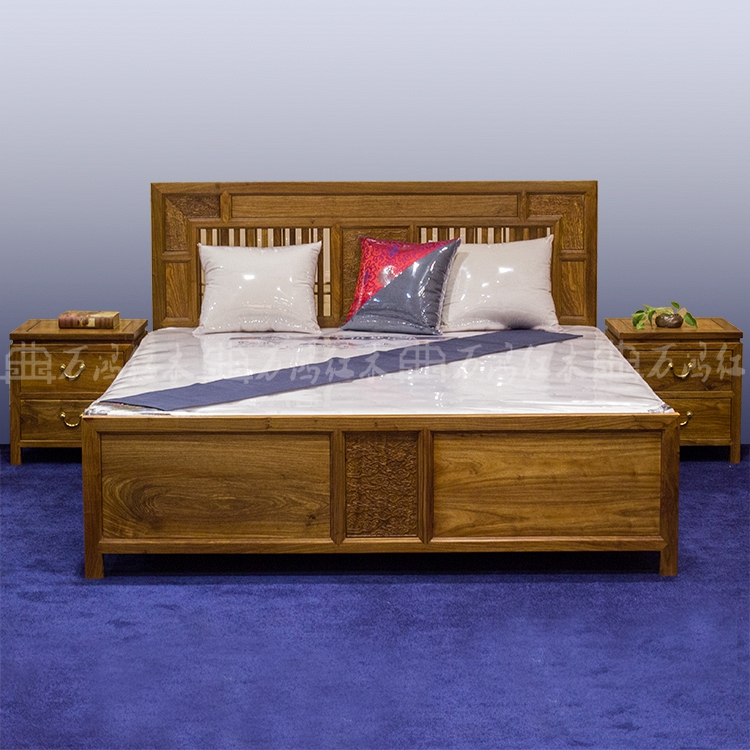 Rosewood mahogany, new Chinese solid wood bed, rosewood double bed, modern solid wood bedroom furniture