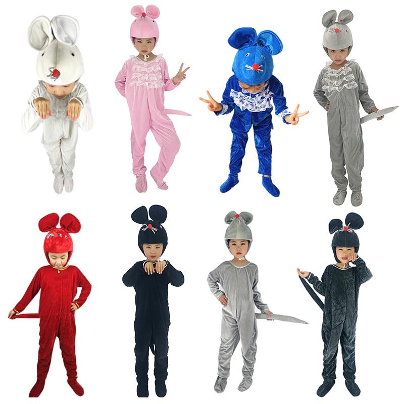 灰色100cm兒童小老鼠表演服裝白鼠演出服貓捉老鼠童話劇動物服小貓表演服裝
