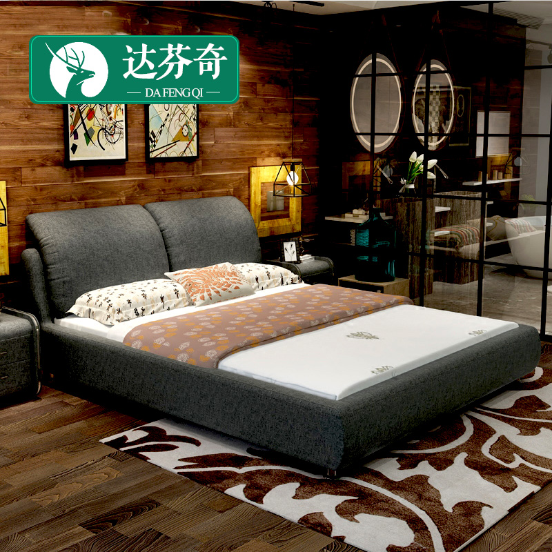 The fabric bed large-sized apartment marriage bed double 1.8 meter pneumatic storage washable cloth bed
