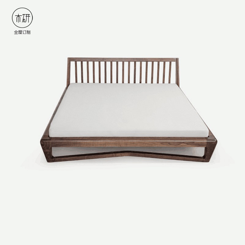 The Japanese real wooden black walnut bed 1.8 meters double bedroom furniture package post installation