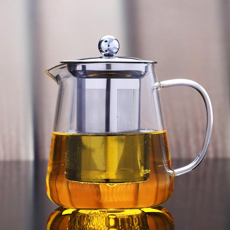 鋼膽壺550ml防爆裂耐熱高溫玻璃花茶壺功夫紅茶具不銹鋼過濾泡茶器加厚沖水壺