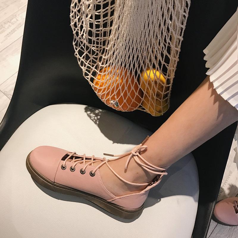 2017新款日系文艺小皮鞋脚环绑带复古罗马鞋单鞋学院平底凉鞋女夏