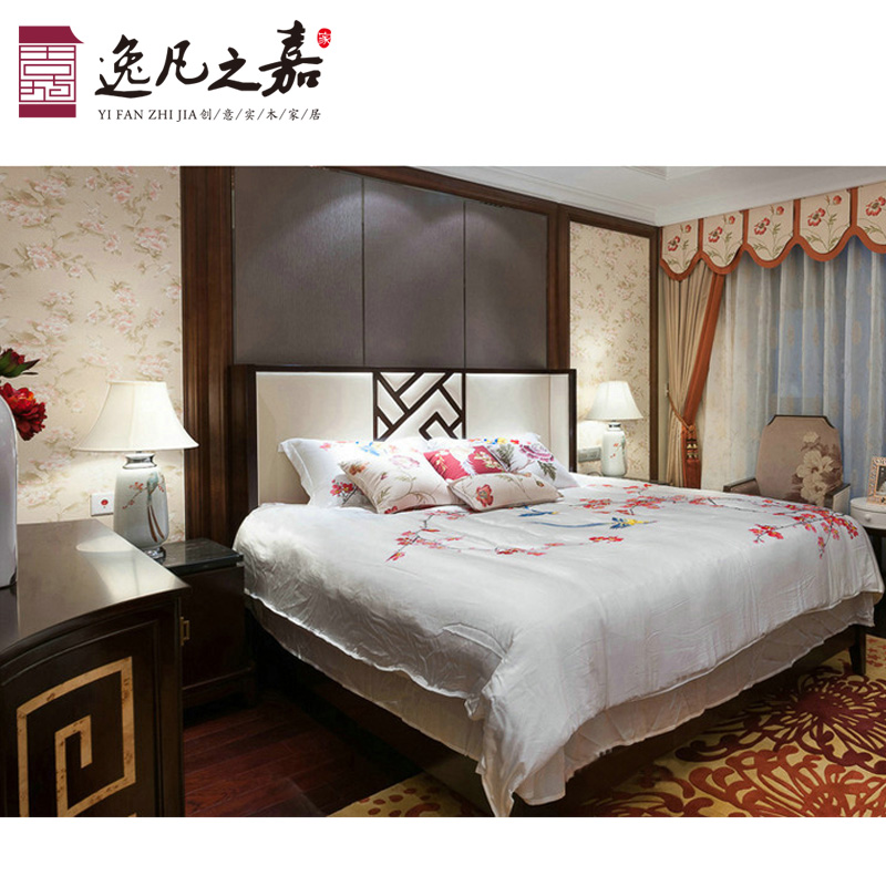 The new Chinese modern minimalist wooden bed soft bed 1.8 meters double bed room furniture, bedroom Club