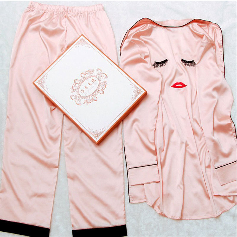 Korea micro letter explosion Ms. eyelashes long sleeved pants with goggles sling four piece silk pajamas sexy