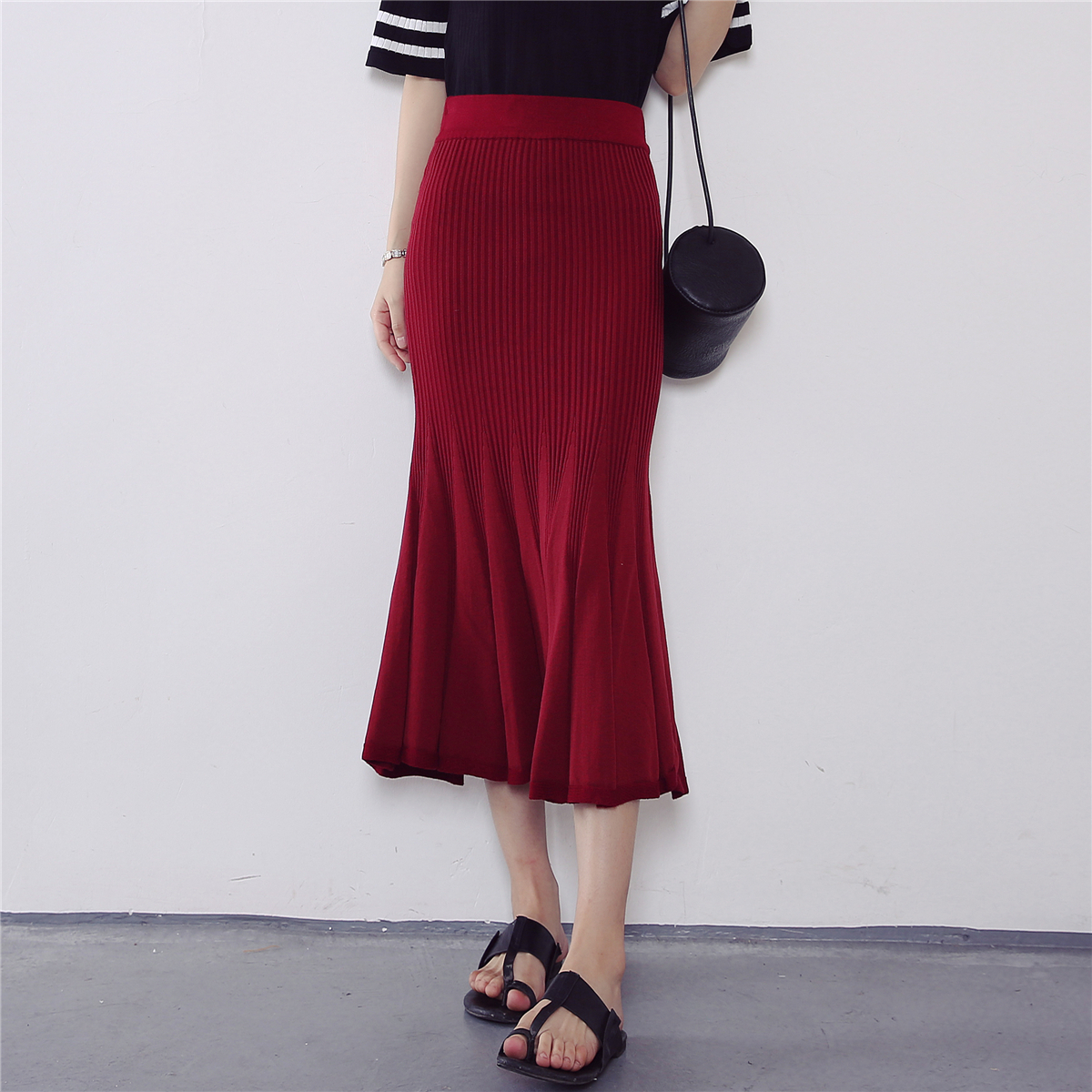 6202【实拍】秋装新款韩版时尚鱼尾裙松紧腰半身裙针织包臀裙
